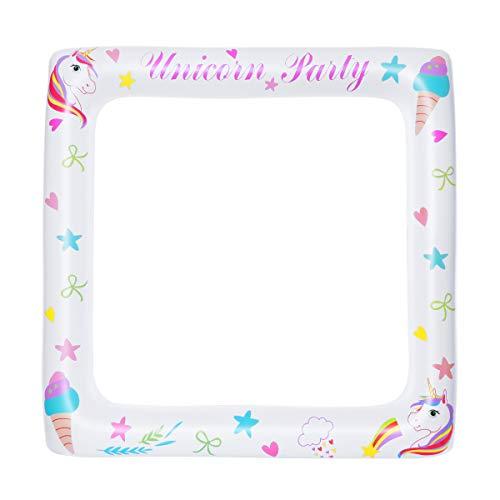 BESTOYARD - Cornice gonfiabile, motivo: unicorno, per foto booth Props Party Props Selfie (71 x 71 cm)