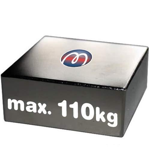 Blocco Parallelepipedo magnetico 50 x 50 x 20mm Neodimio N40 (NdFeB) Nichel - Forza 110 kg - Magneti permanenti rettangolari al Neodimio (Terre Rare) Calamite potenti per l'industria e la casa
