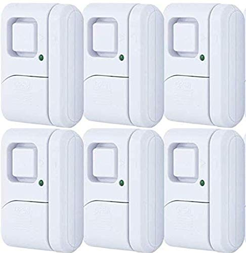 GE Personal Security Window/Door, 6-Pack, DIY Protection, Burglar Alert, Wireless, Chime/Alarm, Easy Installation, Ideal for Home, Garage, Apartment, Dorm, RV and Office, 49721, White