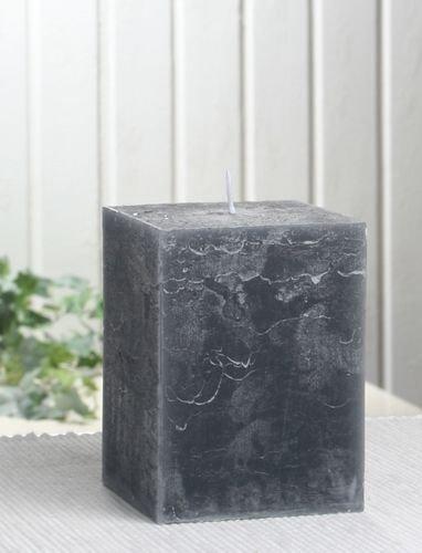 Rustik-Stumpenkerze, viereckig, 10x7,5x7,5 cm, anthrazit-schwarz