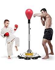 Heavy Punching Bag Speed Boxing Bags with Adjustable Height Stand Boxing gloves Durable Spring Withstands Tough Hits for Kids Adults Indoor Outdoor Training Fitness Stress Relief