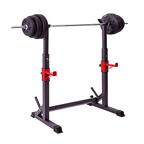 YHAR   Barbell Rack Stand   Heavy Duty DIP Stand   Multi-Function Squat Rack with Adjustable Folding, Height & Width - Gym Fitness Equipment for Home/Garage Training, Weightlifting - Black/Red 580lbs