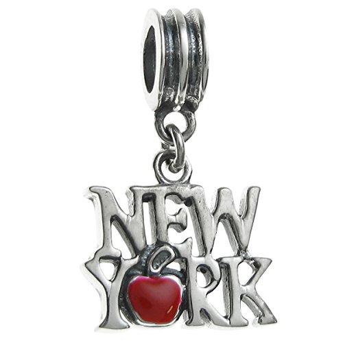 Queenberry Charm in argento Sterling, con la scritta New York e una mela rossa, per bracciali per charm in stile europeo