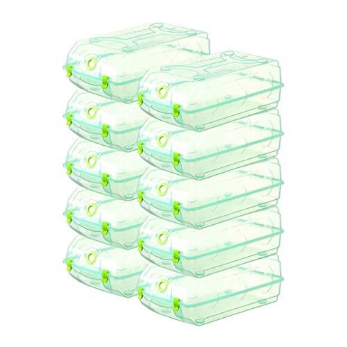 Maquinaria Piezas 10 Paquete Cajas de zapatos Grande Capacidad Zapatillas de plástico Caja de almacenamiento Zapatos transparentes Organizador Mujeres Organizadores Apilables Cajas de almacenamiento d