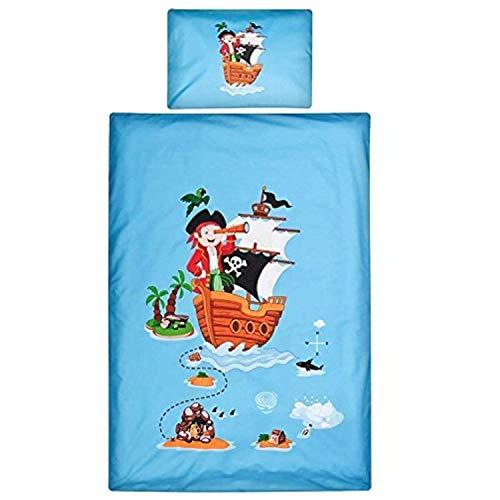 Aminata Kids Kinderbettwäsche 100x135 Piraten-Motiv blau Baumwolle Pirat - Kinder-Wende-Bettwäsche-Set für Pirat, Seeräuber, Piratenflagge & Piraten-Schiff, mit Reißverschluss weich & kuschelig