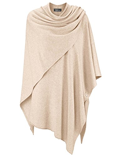 Zwillingsherz Poncho-Schal mit Kaschmir - Hochwertiges Cape für Damen - XXL Umhängetuch und Tunika mit Ärmel - Strick-Pullover - Sweatshirt - Stola für Sommer und Winter von Cashmere Dreams (hbg)