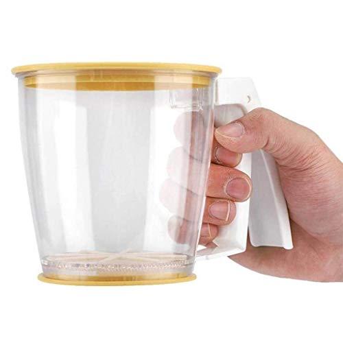 WHYDIANPU Handvat Plastic voor het bakken Keuken Gereedschap Nieuwe Meel Sifter Cup met Handvat Deksel Mesh Crank Shaker Zeef