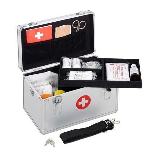 Relaxdays Erste Hilfe Koffer, Verbandskasten Alu mit Tragegurt, leer, Medizinbox für Notfälle, HBT: 19x32x20 cm, silber