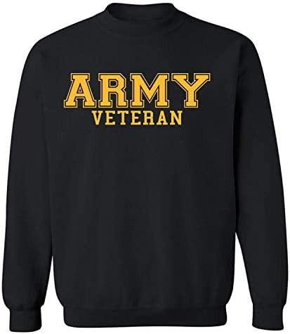 Army Veteran Gold Logo Military Style PT Crewneck Sweatshirt in Bla Large product image