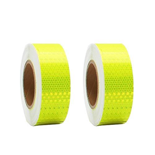 AJZXHE Warnband 2ST reflektierende Warnband, eine hohe Sichtbarkeit Sicherheits Selbstklebende Dichtungsbahn, Aufkleber for Fahrzeuge, Lastkraftwagen for Fahrradhelme 25M * 50mm, gelb Sicherheitsband