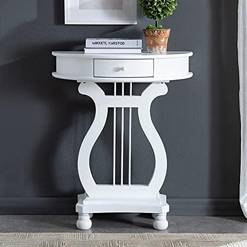 Mesa auxiliar de la mesa de la consola media redonda de madera con la base rectangular, mesa semi-redonda moderna Mesa semicircular de la mesa de la pared Tablas de acento para espacios pequeños, Dise