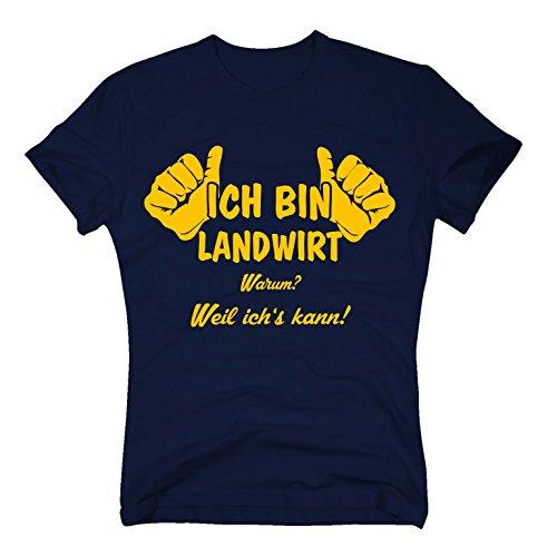 T-Shirt Ich Bin Landwirt, Weil ich's kann, M, dunkelblau-gelb