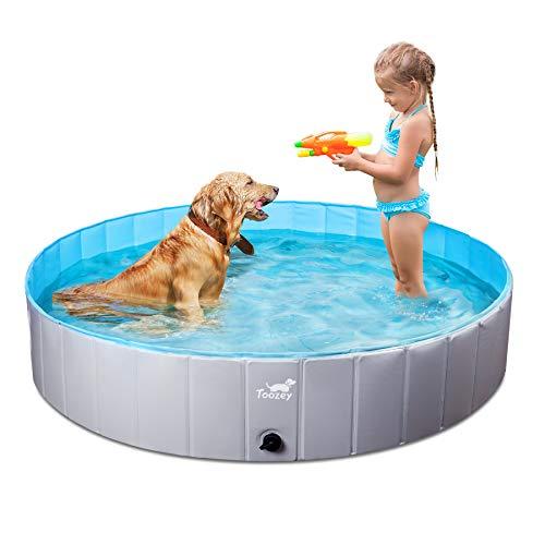 Toozey Foldable Dog Pool, Slip-Resistant Kiddie Pool, Portable PVC Pet Dog Swimming Pool, Plastic Kiddie Pool for Kids, Dog Pet Bath Pool for Small to Large Dogs