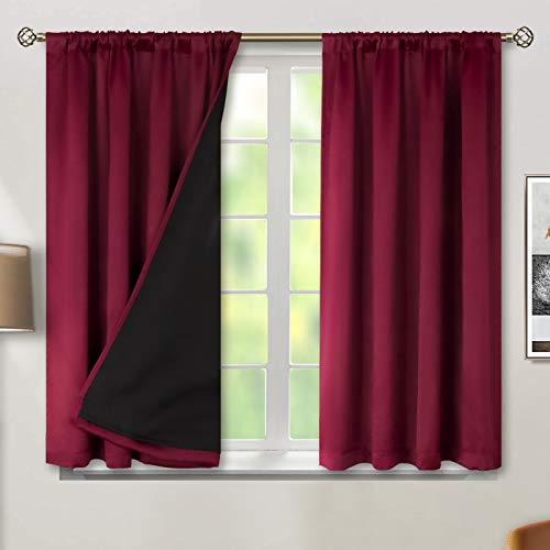 BGment Thermal Insulated 100% Blackout Curtains for Bedroom with Black Liner, Double Layer Full Room Darkening Noise Reducing Rod Pocket Curtain ( 52 x 54 Inch, Burgundy Red, 2 Panels )