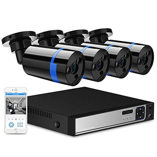 Cámara Sistema de cámara CCTV de 4CH 1080P PoE H.265 4pcs CCTV Sistema de cámara 2MP Kit de videovigilancia PoE 48V Kit de videovigilancia Vigilancia (Build-in HDD : None, Color : 2.0MP Kit)