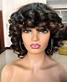 ANNIVIA Short Afro Curly Wigs with Bangs for Women Kinky Curly Hair Wig 2 Tone Ombre Dark Brown Big Bouncy Fluffy Curly Wig