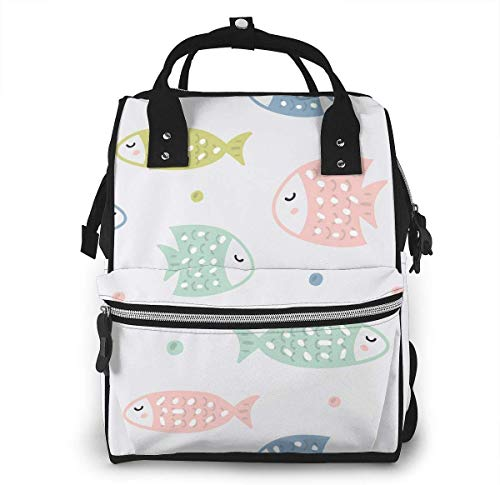 UUwant Sac à Dos à Couches pour Maman Large Capacity Diaper Backpack Travel Manager Baby Care Replacement Bag Nappy Bags Mummy Backpack,(Cute Colorful Fish Spit Bubbles