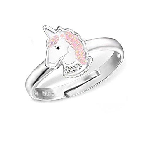 Kinder Ring 925 Echt Silber Mädchen Fingerring Emaille Kristalle Verstellbar (Einhorn CZ / 11 x 8mm)