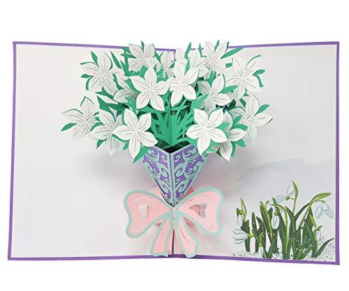 La Vita Viva wenskaart Gardenia droom in wit 3D pop-up wenskaart voor verjaardag Moederdag huwelijk uitnodigingskaarten Liefdesgroente mama vrienden jubileum zakelijke gelegenheden