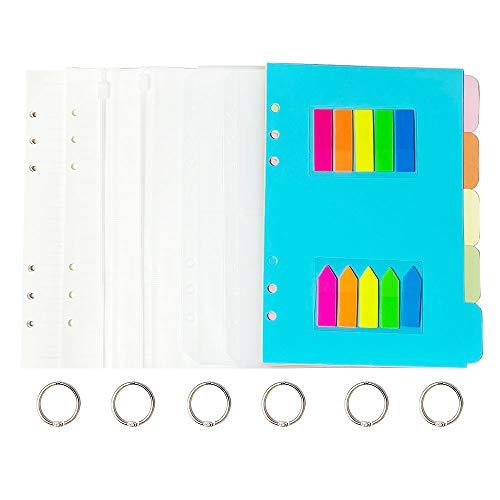 Juego de papel de notas A5, 2 unidades de papel de notas A5, 6 agujeros A5, 90 hojas rayadas, 180 páginas y 5 separadores de...