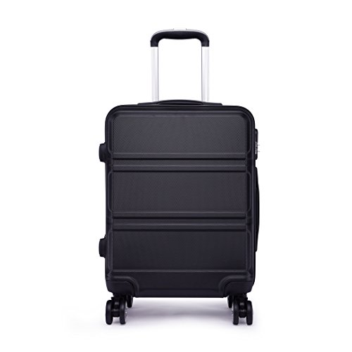 Kono 24 inch Medium Check in Suitcase Hard Shell ABS Travel Trolley Case 65cm, 61L Spinner Luggage (Black)