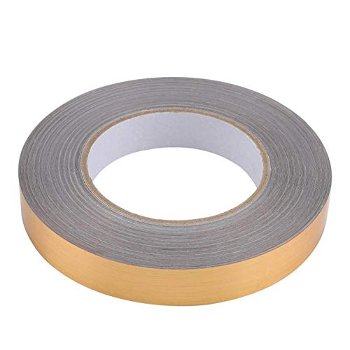 WOUPY Adhesivo de Aluminio, Adhesivo, Autoadhesivo para Superficies Lisas, Planas y limpias para decoración de Paredes, Suelos y Gafas(2 cm x 50 m (Golden))
