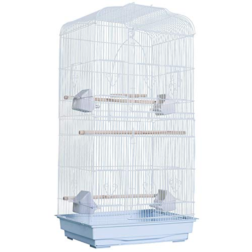 Pawhut Gabbia Voliera per Uccelli Bianco 47.5x36x91cm