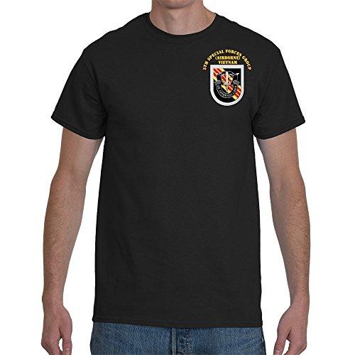 XLARGE - SOF - 5th SFG Flash Vietnam Veteran War with text Final Gildan-Black