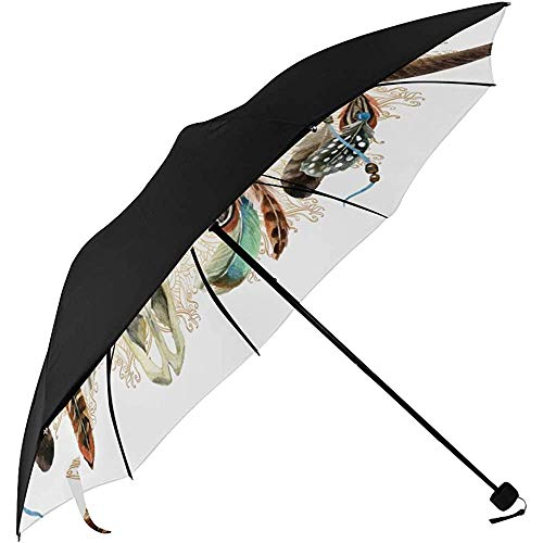 Mens Umbrella Aquarell Buffalo Skull mit Federn auf Golden M Unterseite Reiseschirm Long Umbrella Umbrella Kinderwagen Reisetasche