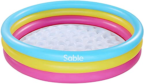 Sable Paddling Inflatable Pool for Kids, Pools Inflatables for Toddlers, Adults, Play Indoors& Outdoors, Gardens, Backyard, 147 x 147 x 33 CM, Rainbow Color