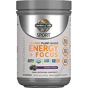 Garden of Life Sport Organic Plant Based Energy + Focus Clean Pre Workout Powder, with 85mg Caffeine, Natural No Booster, B12, Vegan, Gluten Free, Non-GMO, Blackberry, 15.3 Oz