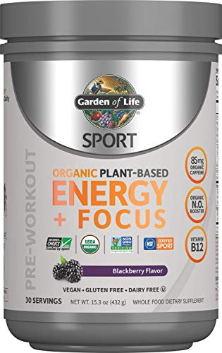 Garden of Life Sport Organic Plant-Based Energy + Focus Pre Workout Powder, BlackBerry Flavor - Clean Preworkout with 85mg Caffeine, Natural NO Booster, B12, Vegan, Gluten Free, Non-GMO, 30 Servings