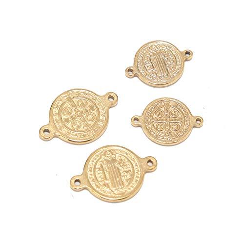 BOSAIYA PJ1 5pcs Saint Benedict Medal Links de Acero Inoxidable Joyería de Oro Conector de Encanto para Pulsera Rosario Haciendo hallazgos Tl0612 (Color : 14mm Saint Benedict)
