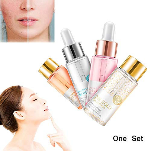 Anti-Aging Shrink Pore Acid, Hyaluronic Acid Essence Serum, Facial Essence Moisturizer Face Serum with Vitamin C, For Dry Skin Care (4pcs)
