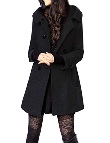 Tanming Women's Warm Double Breasted Wool Pea Coat Trench Coat Jacket with Hood (X-Small, Black Cotton)