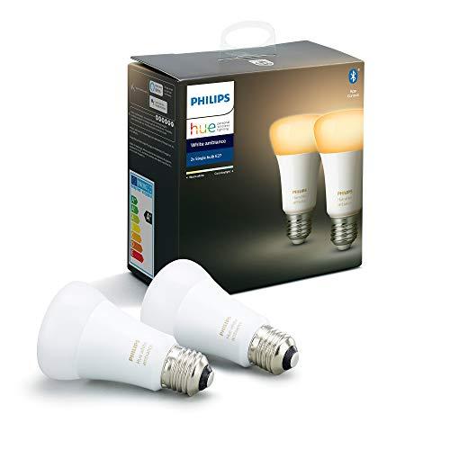 Philips Hue - Bombilla inteligente, E27, Luz cálida y fría, 85W, Compatible con Alexa y Google Home - Pack de 2 Bombillas LED inteligentes