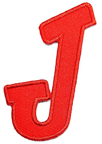 PP Patch Red J Letter Patch Vintage Font Letter ABC English Character Patch Iron Sew On Embroidered Patch Clothing for Jeans Hats Bags Jackets Name Team t-Shirt