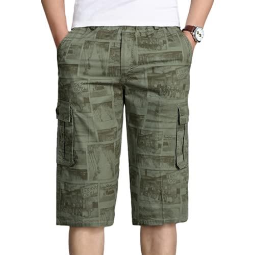 Katenyl Pantalones Cortos de Ropa de Trabajo Estampados a la Moda para Hombre Pantalones Cortos Rectos con cordón de Cintura elástica Holgados Informales de Gran tamaño a la Moda 6XL