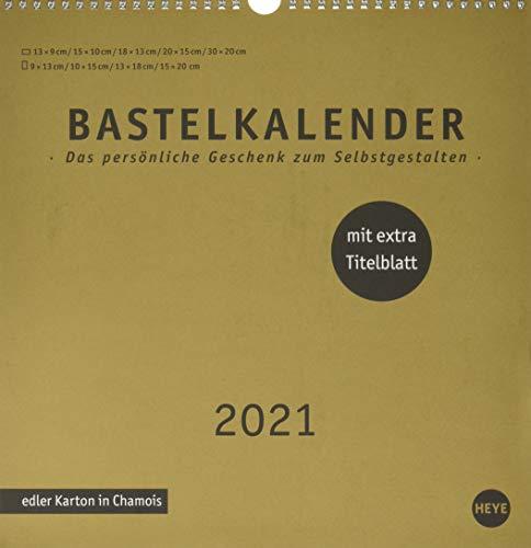 Bastelkalender 2021 Premium gold groß - edler Karton in Chamois - mit Monatskalendarium und Spiralbindung - Format 32 x 33 cm