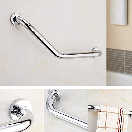 Asidero para bañera, ducha o cuarto de baño en forma de L, en acero inoxidable cromado, barra de seguridad antideslizante para niños y personas mayores.
