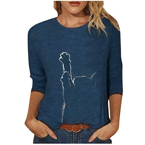 Kobay Jogginganzug Hoodie Damen Frühling Sommer Atmungsaktiv Tops Loose Cat Print Lässig Langarm T-Shirt Top Bluse
