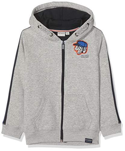Garcia Kids Jungen H95663 Sweatjacke, Grau (Grey Melee 66), 128 (Herstellergröße: 128/134)