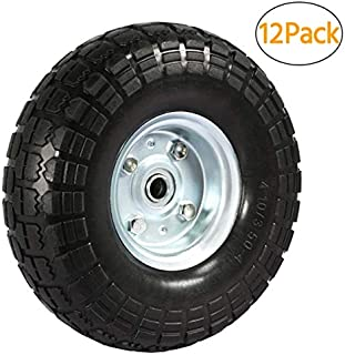 go2buy 8/12 Pack 10 Inch Solid Rubber Tyre Wheels Garden Wagon Cart Trolley Tires Replacement Wheels Black Pack of 12