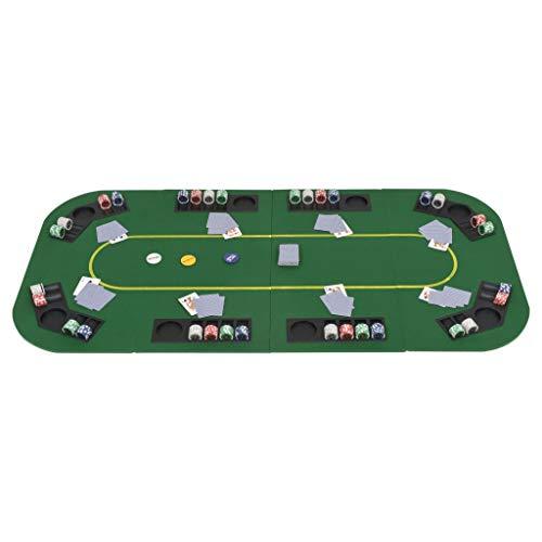 Tidyard 8-Spieler Poker Tischauflage Faltbar 4-Fach Rechteckig Pokertisch Spieltisch Gr¨¹n