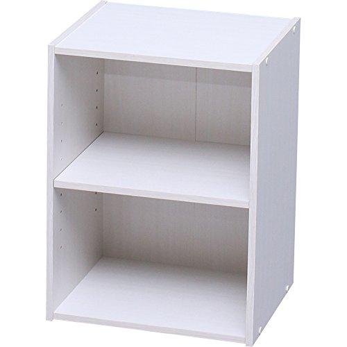 アイリスオーヤマ カラーボックス 収納ボックス 本棚 2段 可動棚 幅36.6×奥行29×高さ49.4cm オフホワイト モジュールボックス MDB-2K