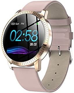 Smart Watch,1.22 Inch Tempered Glass Screen Bluetooth Watch with Heart Rate Sleeping Monitor Pedometer Fashion Sports Band Fits iPhone X Samsung Note 9 (Pink) Boens