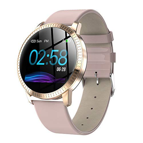 Smart Watch,1.22 Inch Tempered Glass Screen Bluetooth Watch with Heart Rate Sleeping Monitor Pedometer Fashion Sports Band Fits Xs Max Note 9 (Pink) Boens