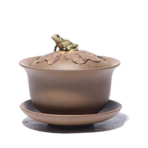 Tetera de hierro fundido, set de tetera boutique hecho a mano mineral púrpura cubierta de arena tazón rana Ming tres cuencos set de té vintage taza de té decoración del hogar regalo