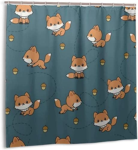 Duschvorhang Verspielte Baby Füchse Wasserdichter Stoff Badevorhang für Baddekoration mit Haken 180*180cm oein