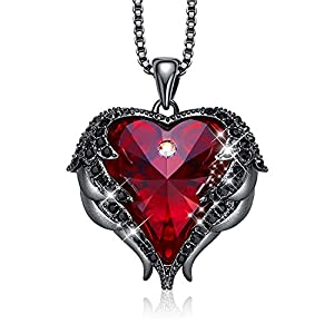 Womens Angel Wing Pendant Heart Necklace
